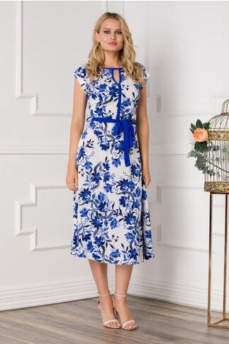 Rochie Nina alba cu imprimeu floral in nuante de albastru