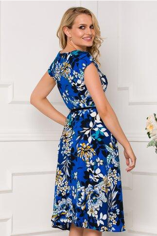 Rochie Nina albastra cu imprimeu floral maxi