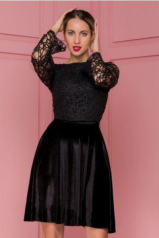 Rochie Nina neagra cu fusta catifelata si broderie la bust