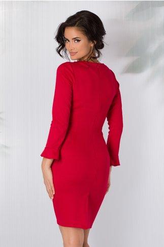 Rochie Nina rosie accesorizata cu volanase