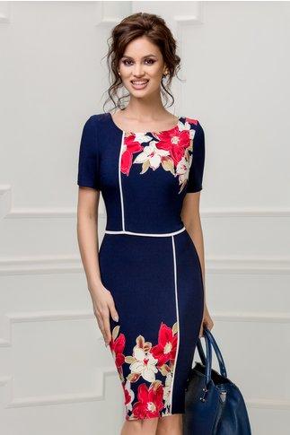 Rochie Noire bleumarin cu imprimeu floral alb rosu