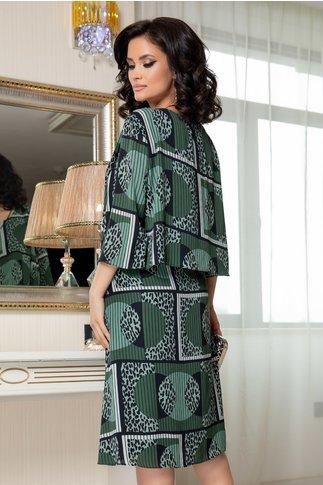 Rochie Nora kaki cu imprimeu divers negru si gri