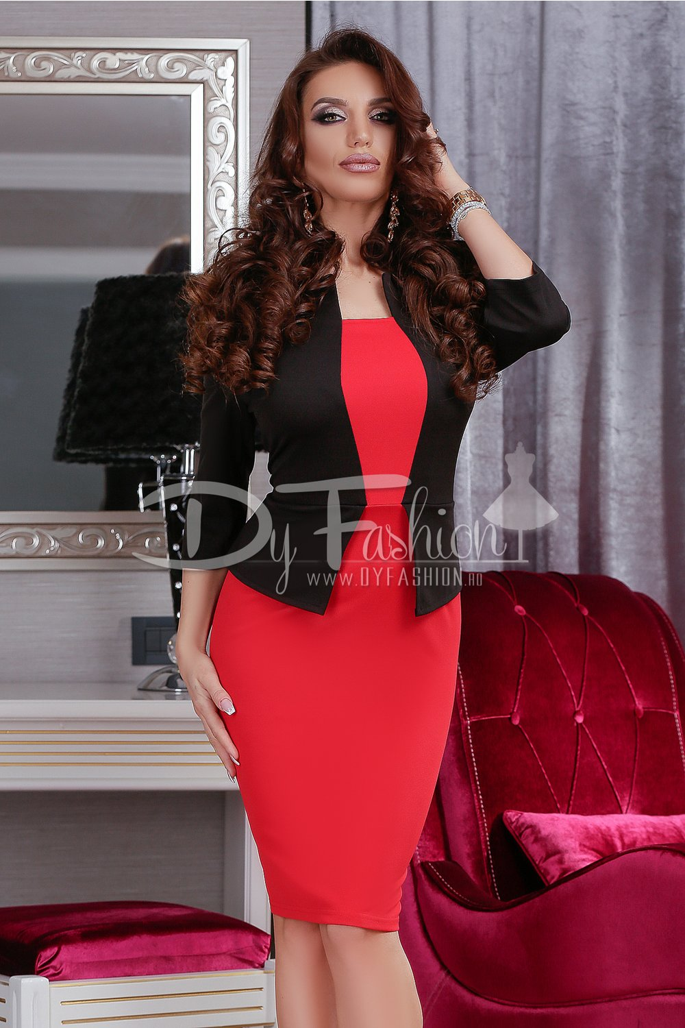 Rochie Notes Black Red