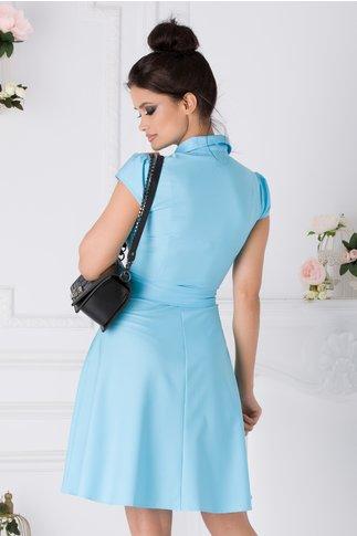 Rochie Ofelia bleu cu volane la bust si cordon in talie