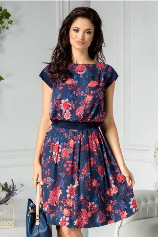 Rochie Ofelia bleumarin cu imprimeu floral rosu