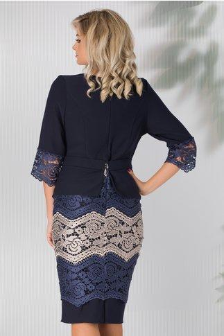Rochie Ofelia bleumarin cu peplum in talie si fusta din dantela