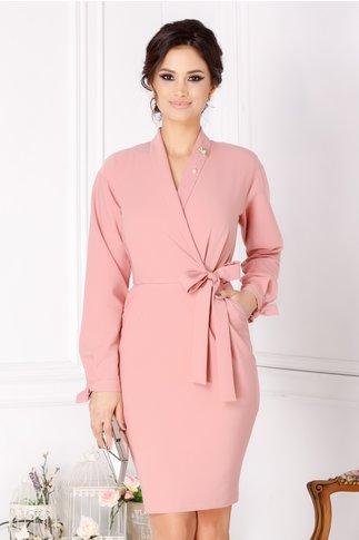 Rochie Ofelia roz prafuit cu decolteu petrecut