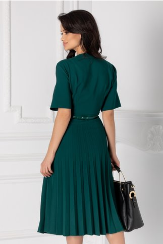 Rochie Ofy verde inchis plisata cu decolteu petrecut