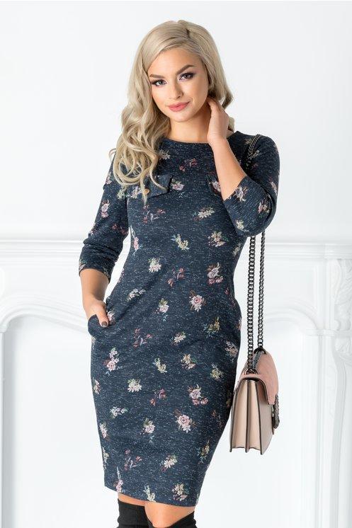 Rochie Olimpia bleumarin cu imprimeu floral