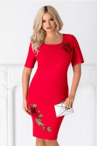 Rochie Olive rosie cu broderie florala