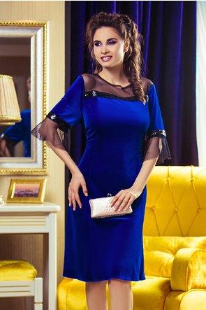 Rochie Olivia Albastra din Catifea cu Paiete