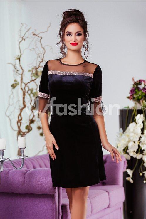 Rochie Olivia Neagra din Catifea Eleganta