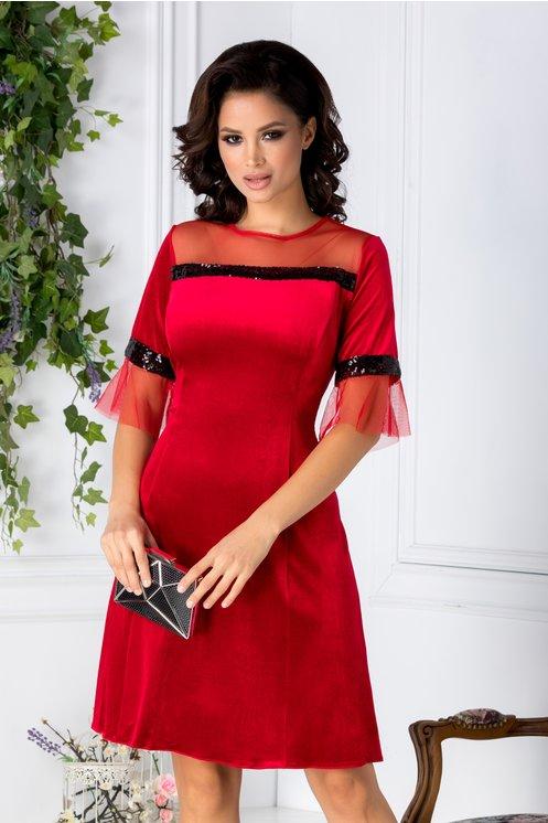 Rochie Olivia rosie din catifea cu paiete negre