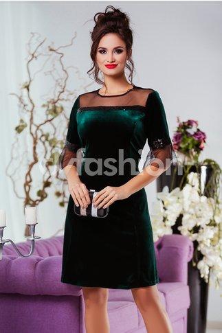 Rochie Olivia Verde din Catifea de Ocazie