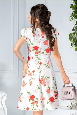 Rochie Omana alba de zi cu flori rosii eleganta