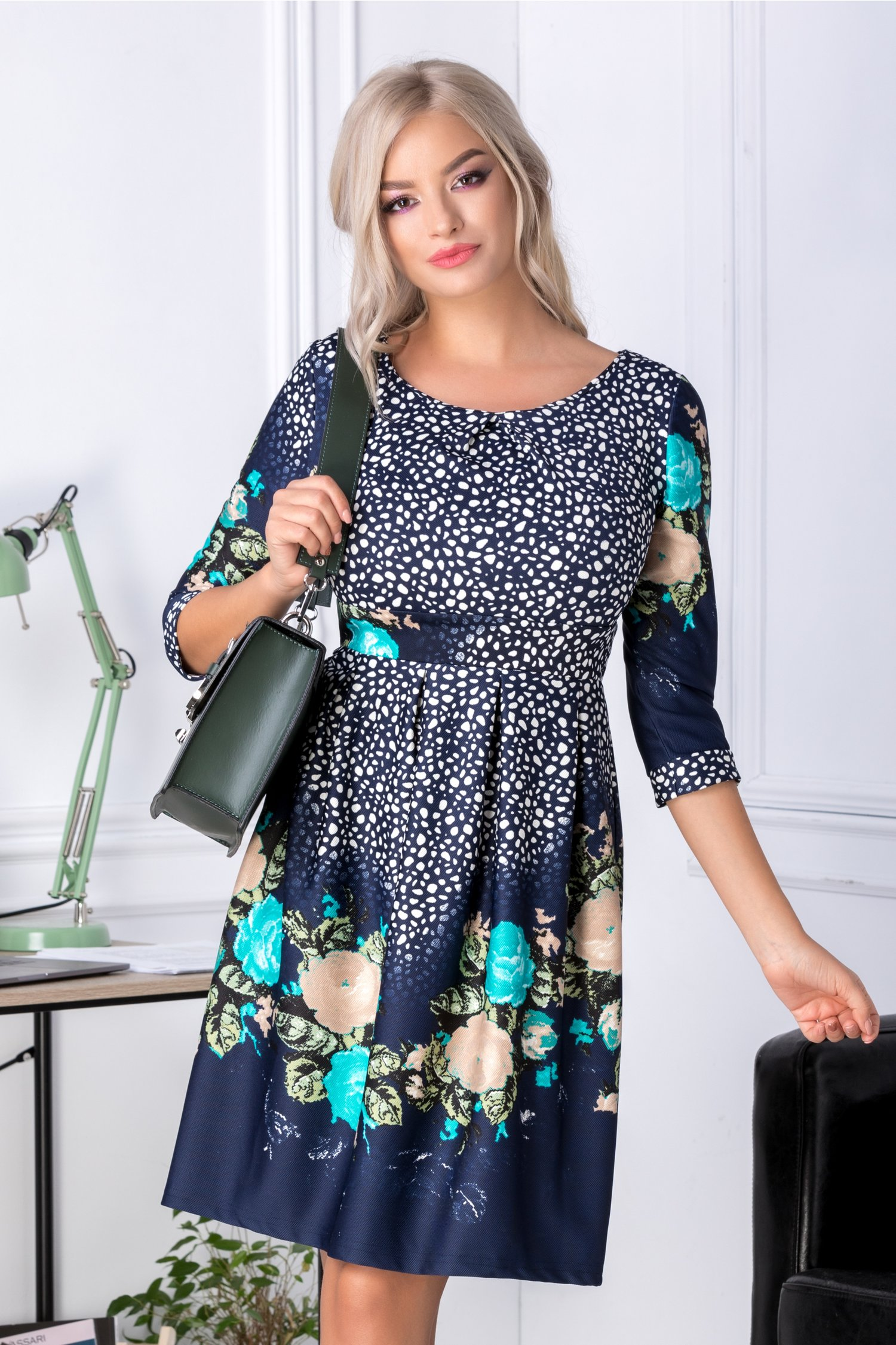 Rochie Oneful Green Flowers