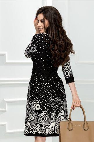 Rochie Oneful neagra cu imprimeu alb si buline