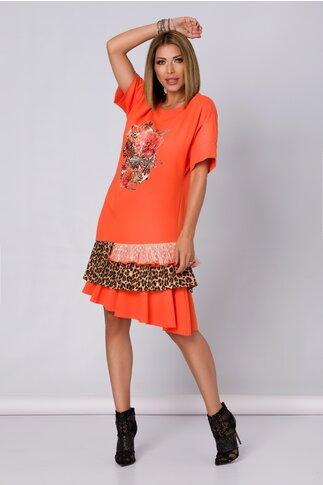 Rochie orange LaDonna by Catalin Botezatu cu imagine imprimata si volanase la baza