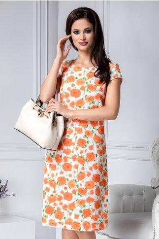 Rochie Oriana alba cu flori orange