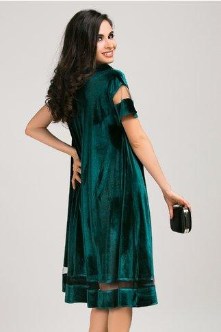 Rochie Oriana verde din catifea croi larg