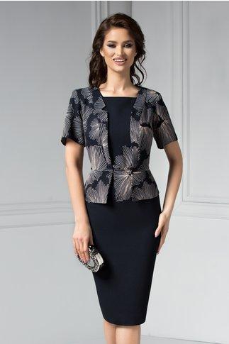 Rochie Osana midi bleumarin cu flori crem stil sacou