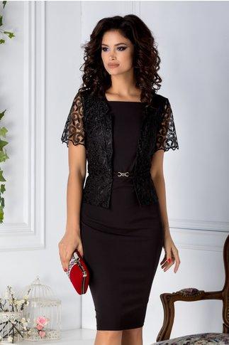 Rochie Osana midi neagra cu dantela stil sacou