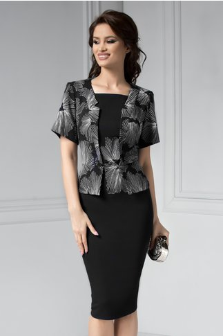 Rochie Osana midi neagra cu flori albe stil sacou