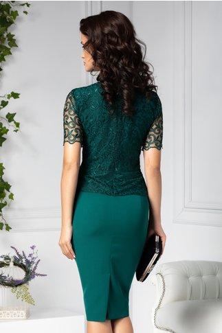 Rochie Osana midi verde cu dantela stil sacou