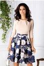 Rochie Pam bej cu bleumarin si imprimeu floral