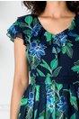 Rochie Pamela bleumarin cu imprimeu verde si lurex auriu