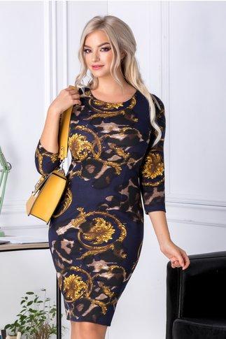 Rochie Pamy bleumarin cu imprimeu vintage galben