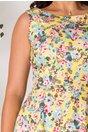 Rochie Pamy galbena cu imprimeu floral roz-bleu