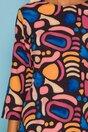 Rochie Pamy neagra cu imprimeuri in nuante de roz