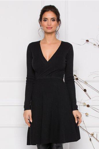 Rochie Pamy neagra din tricot cu decolteu petrecut