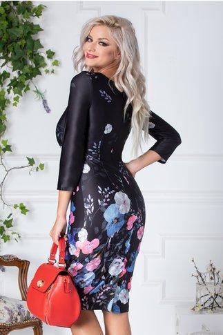 Rochie Pansie neagra cu panselute colorate