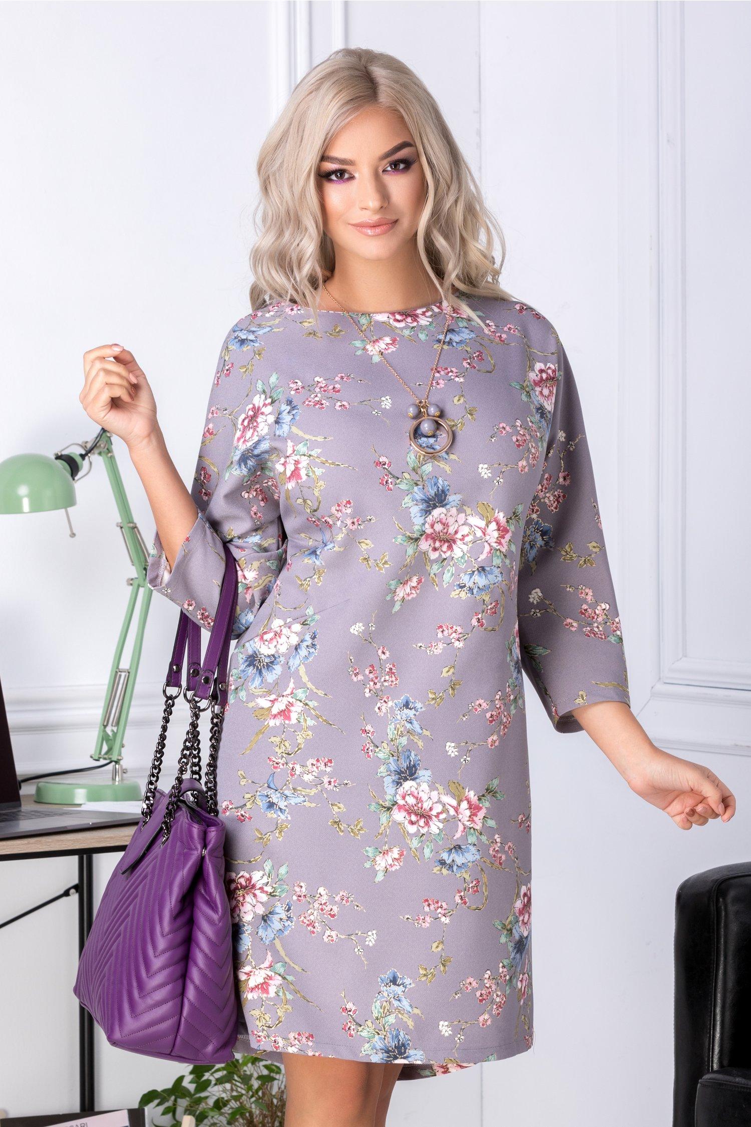 Rochie Patricia gri cu imprimeu floral pastelat