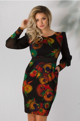 Rochie Patricia neagra cu imprimeu multicolor si maneci din voal