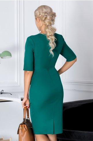 Rochie Patricia verde cu benzi negre la bust