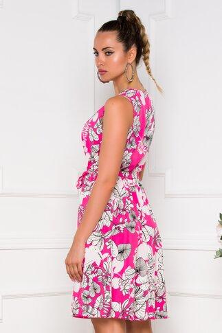 Rochie Patty fucsia cu imprimeu floral