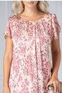Rochie Patty somon cu floricele roz