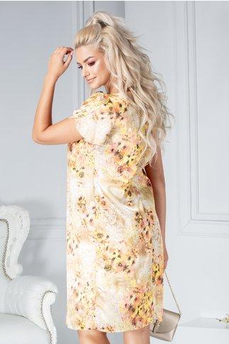 Rochie Patty vaporoasa crem cu imprimeu floral