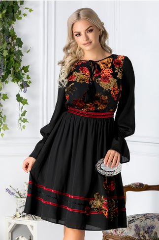 Rochie Paty neagra cu motive florale catifelate bordo