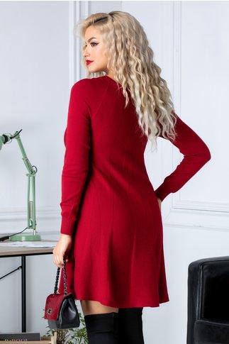 Rochie Paty rosie din jerseu cu aplicatii