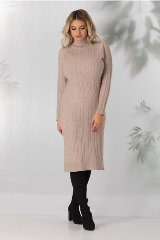 Rochie Paula bej lunga din tricot