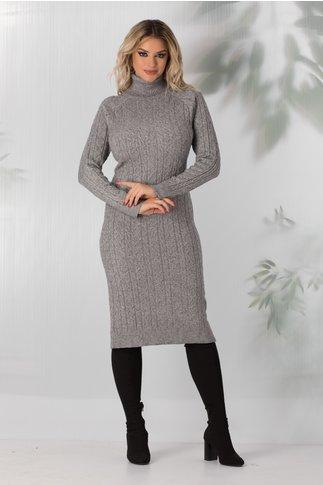 Rochie Paula gri lunga din tricot