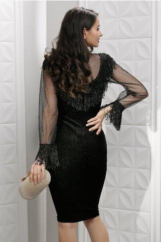 Rochie Leonard Collection Paulette neagra din catifea cu franjuri