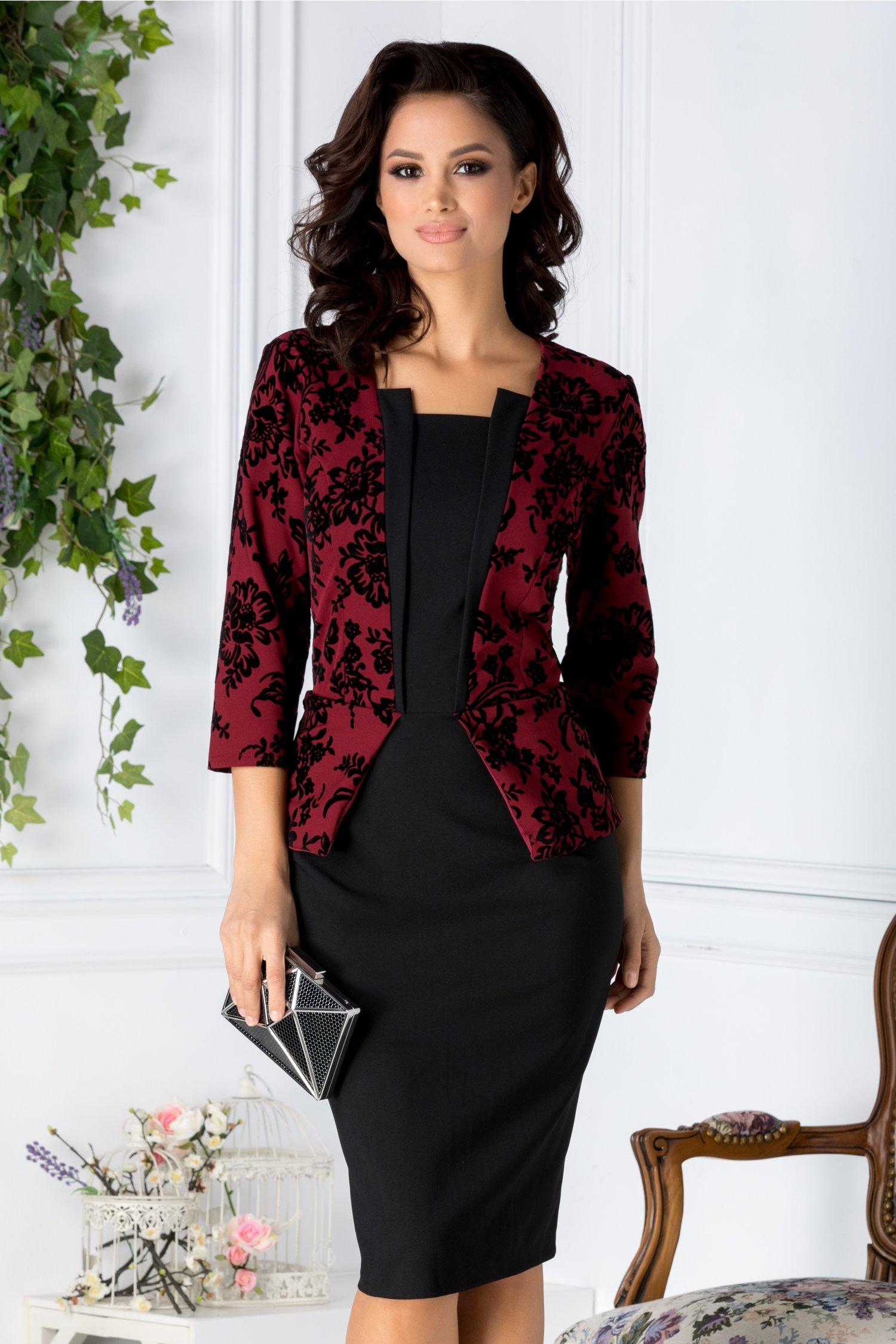 Rochie Pauline bordo si negru cu peplum si insertii catifelate