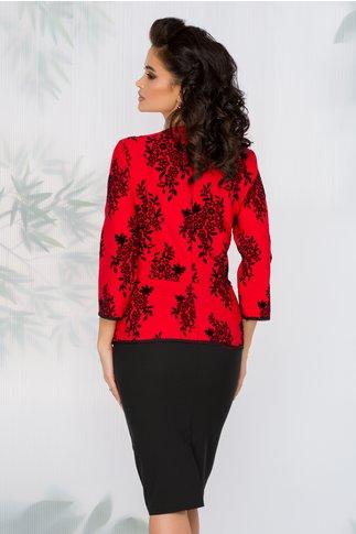 Rochie Pauline rosie si negru cu peplum si insertii catifelate