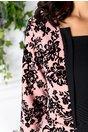 Rochie Pauline roz si negru cu peplum si insertii catifelate
