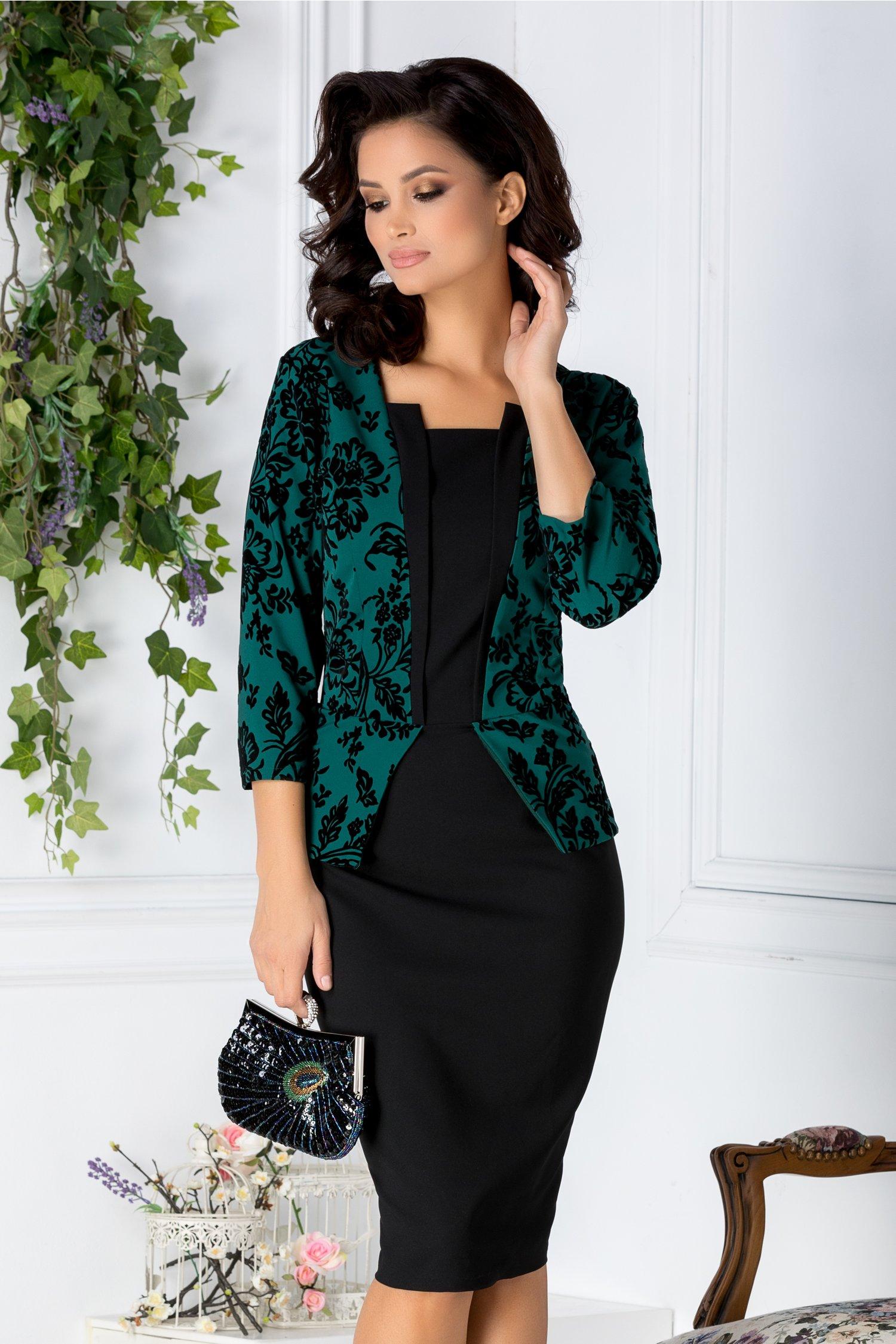 Rochie Pauline verde si negru cu peplum si insertii catifelate